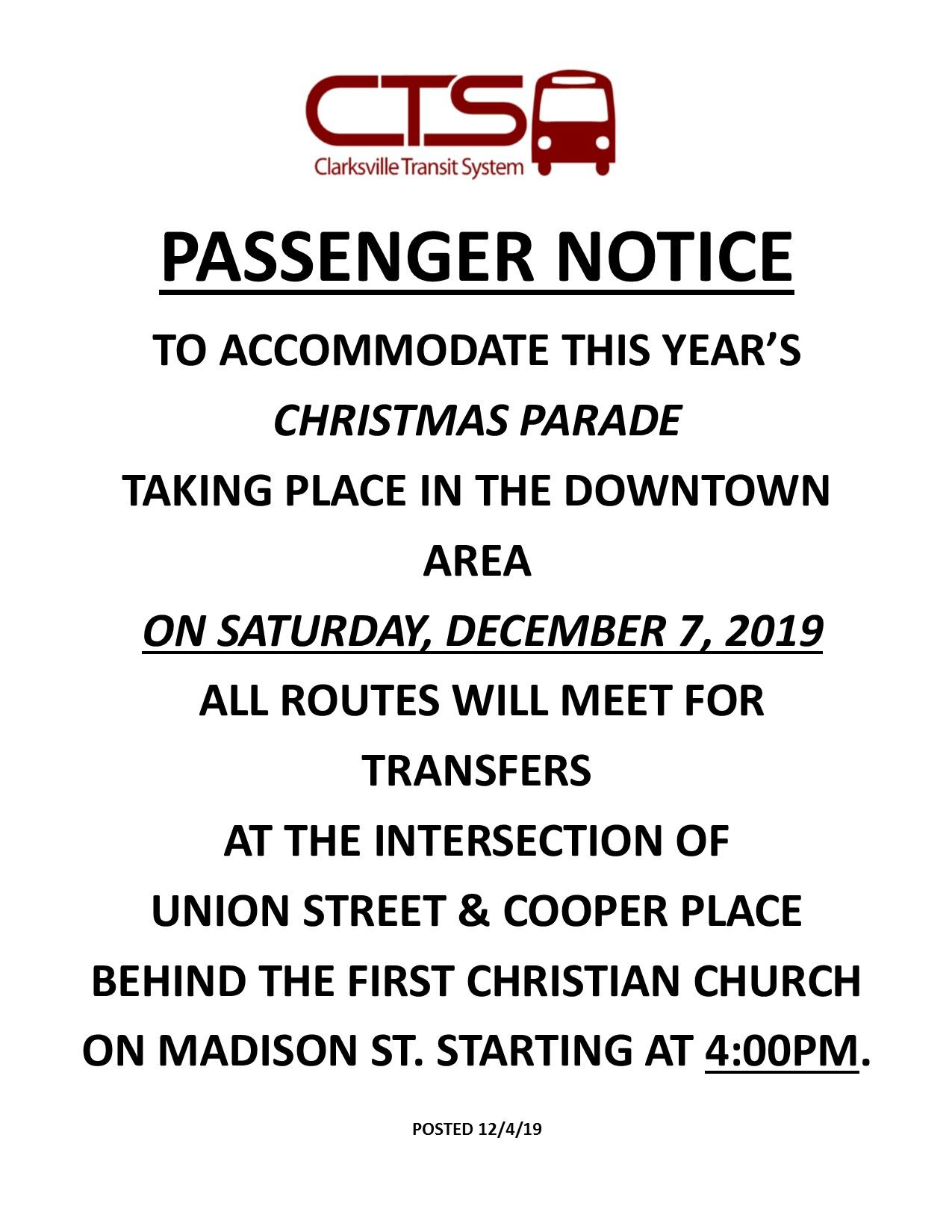 Christmas Parade STAGING AREA PASSENGER NOTICE 2019